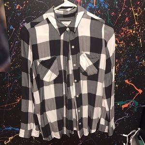White, black, and gray plaid flannel